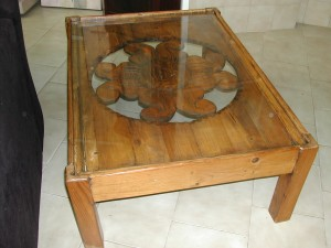 Beautiful unusual coffee table with glass top