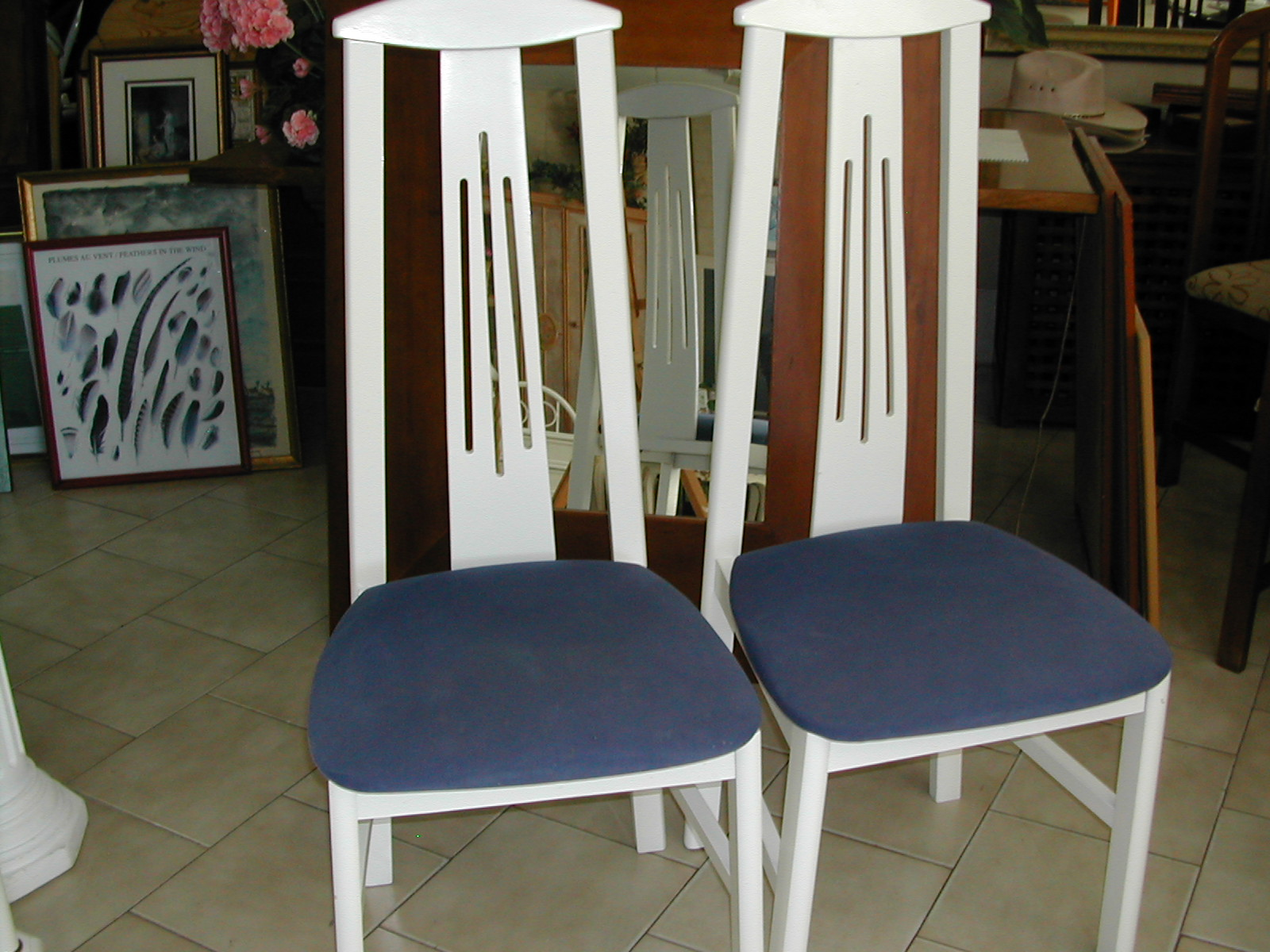 Beau 2 White High Back Dining Chairs With Blue Seat Cushions